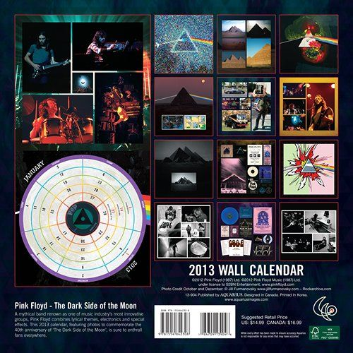 Pink Floyd The Dark Side of The Moon 2013 Wall Calendar