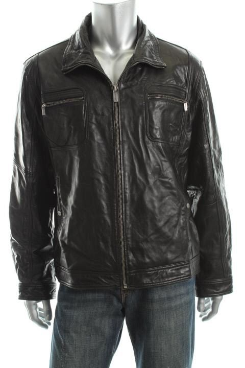 Michael Kors Black Leather Full Zip Lined Motorcycle Jacket Coat XL